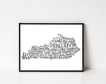 Hand lettered PRINCETON Kentucky Word Art Print // 8x10