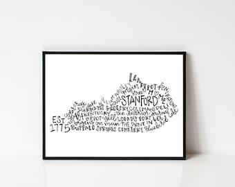Hand lettered STANFORD Kentucky Word Art Print // 8x10