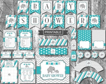Teal Green Grey Elephant Baby Shower Decorations Package Digital Printable Games Food Labels Bunting Flags PDFs Instant Download-Baby Shower
