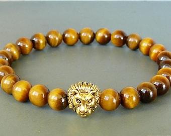 Lion Bracelet for Mens Tiger Eye Bracelet Gemstone Bracelet Lion Beaded Bracelet Stretch Bracelet Lion Head Bracelet for women lion bracelet