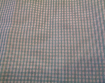 1/2 yard green/blue gingham check cotton- poly