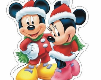 Christmas Mickey And Minnie Mouse Planar Resin Cabochons Flat Back Scrapbooking Hair Bow Centers Card Making Crafts Embellishments