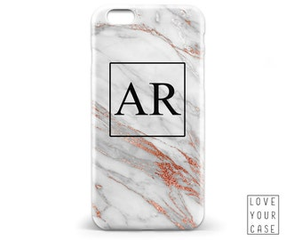 1449 // White Marble Texture Rose Gold Initials Monogrammed Phone Case iPhone 5 5S 6 6S,Samsung Galaxy S5 S6, Samsung Galaxy S7 Edge Plus