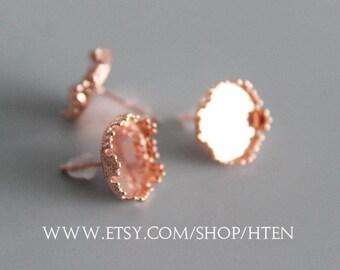 20pcs Crown Rose gold 12mm Earrings Bases - Crown 12mm Earrings Settings - DIY Rose gold  Earring Kits - 12mm Blank Bezel Earring Trays