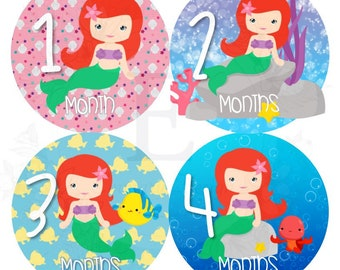 Little Mermaid Month Stickers - Baby girl Monthly stickers - princess month stickers -  Months 1-12 stickers - baby girl princess stickers