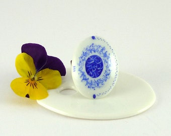 Porcelain Ring,Ceramic Ring,Blue Ring,Porcelain Jewelry,Bague Marquise en Porcelaine,Bague,