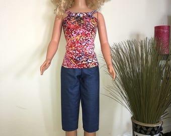 Colorful splash Capri set my size Barbie