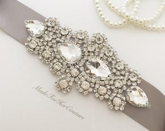 Silver Wedding Sash, Silver Rhinestone Wedding Sash, Silver Bridal Belt, Silver Wedding Dress Sash, Crystal Bridal Belt, Crystal Bridal Sash