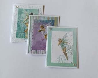 Fairy cards, girl birthday cards, thank you cards, gift cards, note cards, girls cards, green and purple, set of 3