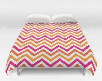 pink orange geometric modern duvet cover designer bedding bedroom decor dorm bedding - Modern Duvet Covers