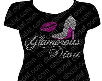Glamorous Diva with Rhinestone Heel & Lips