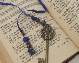 Blue ribbon beaded bookmark with bronze key