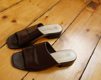 Brown Faux Leather Slides Heel 7.5/8