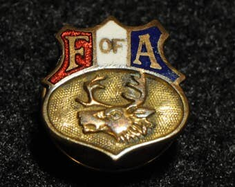 Supreme Court Foresters of America pin, F of A, lapel pin, vintage pin, screw back pin, elk, Foresters of America collectible, Americana