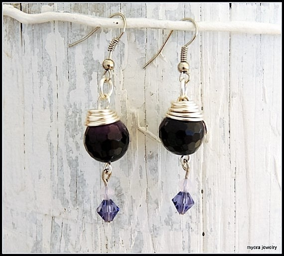 Purple drop earrings, Statement Earrings, Lilac Dangle Earrings, Cute Small Earrings, Dark Purple Earrings, Womens Ball Earrings