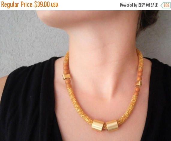 Free Shipping - Gold Mesh Necklace, Big Funky Necklace, Statement Jewelry, Chunky Womens Necklace, Large Womens Golden Necklace,  Bib mesh N