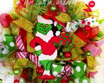 Grinch Wreath, Holiday Wreath, Christmas Wreath, Character Wreath, Christmas Deco Mesh Wreath, Christmas Door Wreath, Christmas Decoration