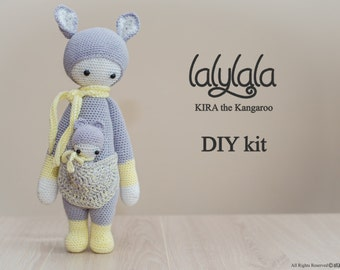 Yellow lalylala Kira pattern - DIY Kit-  Kira the Kangaroo - DIY Crochet Kit - Lalylala pattern - DIY Craft - Easter gift - Gift for mother