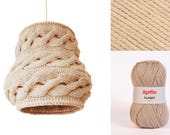 Knitted Lampshade LUUKA / Pendant Stone Gray Hanging Shade - Made-to-order