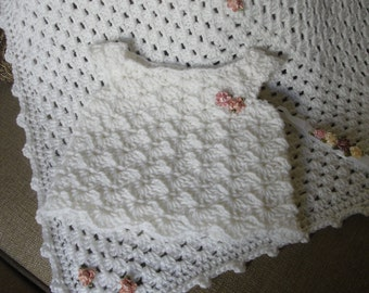 Baby girl blanket handmade, crochet, baby dress and headband in white with little roses size 30x30 made to order not for sale