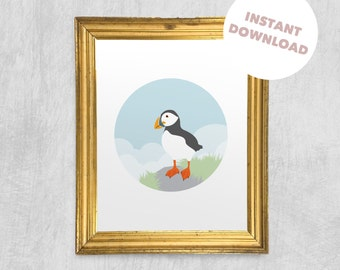 Printable Wall Art - Pensive Puffin, Digital Download, Animal Print, Children's Art