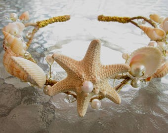 Mermaid Crown,Beach Bridal Crown,Seashell Halo,Starfish Crown, Rustic Headpiece,Photo Prop,Wedding Hair Accessory,Mermaid Wreath,Cosplay