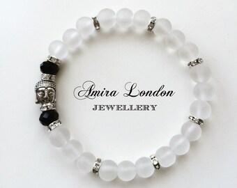 Buddha bead bracelet,frosted buddha bracelet,white buddha bracelet,spiritual bracelet,silver buddha charm,black crystal buddha,yoga beads