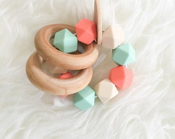 Handmade Teething Toy Baby Teether Unique Baby Toy Teether Toy Wooden Teether Wooden Toy Silicone Teether Salmon and Mint teether