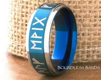 Tungsten Wedding Band Black Blue Two Tone Any Initials Tungsten Band Ring 7mm Mens Women Blue Tungsten Ring Anniversary Promise His Hers