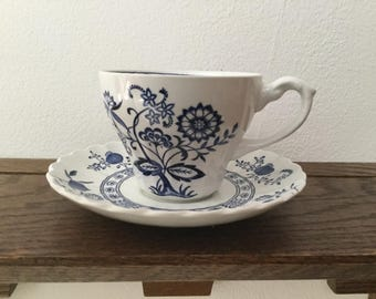 J & G MEAKIN Blue Nordic Cup and Saucer Set     Blue Onion Cup and Saucer Set