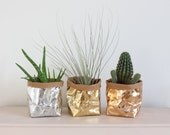 Paper bag, washable paper, metallic paper bag, rose gold, gold, silver, office storage, desk organizer, planter, Wedding décor