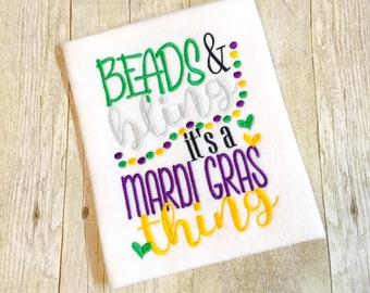 Mardi Gras Beads & Bling Bodysuit, Shirt, or Bib - Girls Mardi Gras Shirt - Baby Mardi Gras - 1st Mardi Gras - Bling Mardi Gras - Mardi Gras