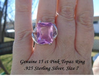 Genuine 15 ct Pink Topaz Ring Size 7
