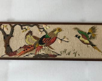 Vintage Mid Century Gravel Art Wall- Birds from the 1960s