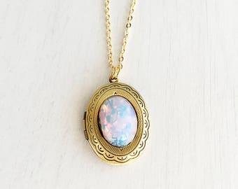 Pink Opal Locket Necklace, Wearable Long Chain Fire Opal Locket Necklace, Keepsake Photo Locket Necklace