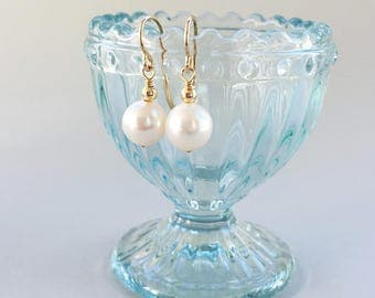 Classic Simple White Pearl Drop Earrings - on 14K Gold Filled Ear Wires, June Birthstone Earrings