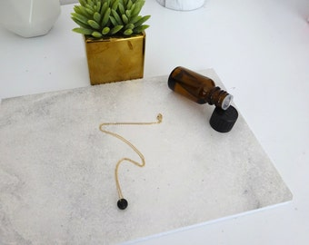 Lava necklace, One bead lava stone diffuser necklace, Minimalist Lava rock Necklace, Essential Oil jewelry, Aromatherapy necklace