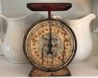 VINTAGE KITCHEN SCALE • Wayrite, Made in Chicago, United States • Gray + a Little Red, 25# Weight • Shabby Chippy Fixer Upper Farmhouse