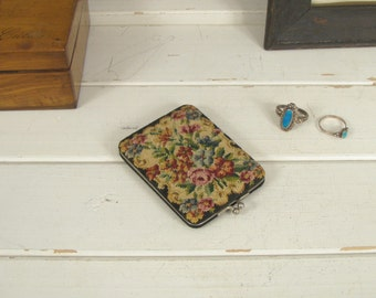Vintage Embroidered Floral Clam Shell Compact - Made in Germany