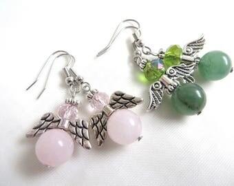 Gemstone Angel earrings, Rose Quartz earrings, Green Aventurine angel earrings, Guardian angel jewellery, Spiritual jewelry,