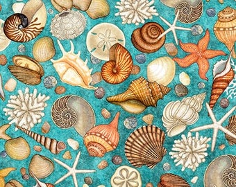 Sea Shells Toss / Seashell Fabric / Ocean Oasis by Quilting Treasures 25833 /  Sea Shells All Over / Yardage and Fat Quarters