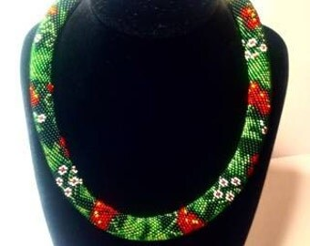 Guelder rose necklace.Ukrainian embroidery.Bead crochet necklace.Beaded rope. Ethno style.Traditional Ukrainian print.
