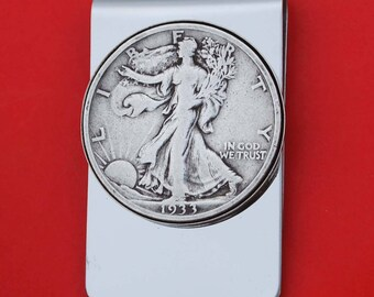 US 1917 ~ 1947 Walking Liberty Half Dollar 90% Silver Coin Stainless Steel Money Clip NEW