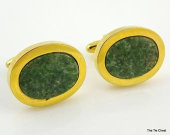 Vintage 1960s Cufflinks Green Jade Stone Big Chunky Oval