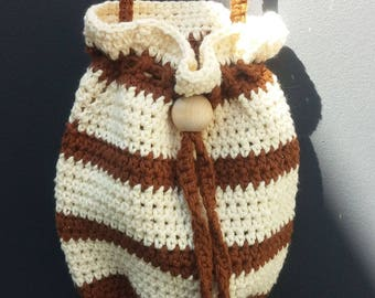 Crocheted Purse Bag Little Dashing Drawstring Cross Body Cotton Brown Ecru