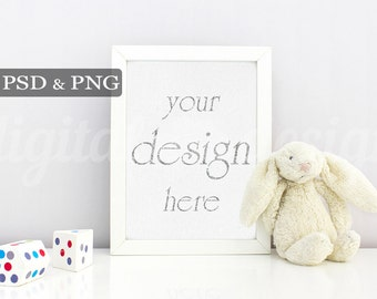 Nursery Frame Baby Room Styled Stock Photography Bunny Wood Toy Vertical Mockup Download Empty Art Frame Product Digital Background Photo