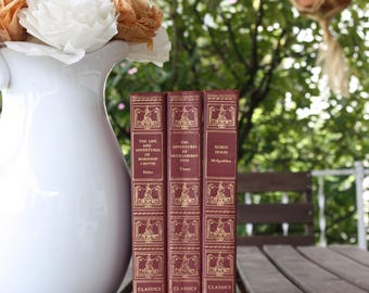Red Books, Vintage Books, Decorative Books, Antique, Vintage Collection, Book Décor, Wedding Decor, Home Decor, Centerpiece, Office Décor