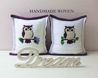 Owl Decorative Pillows, Owl applique pillow, Monogram pillow,  Owl Custom pillow, anniversary gift, Pillow covers, personalized pillows,