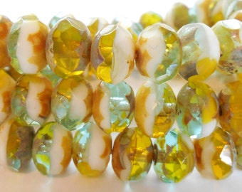 10 - Aqua Chartreuse Green White Picasso Mix 8x6mm Faceted Rondelle, Czech Glass Beads, Donut, Monkeyshine Beads