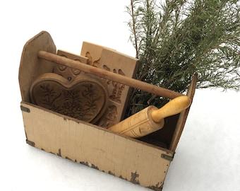 Vintage Wood Tool Box Caddy Garden Tote Organizer Flower Planter Craft Storage - Country Farmhouse Decor